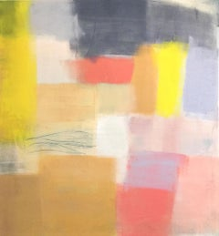 Mid-Century I, soft pastel abstract painting on canvas, pink and yellow