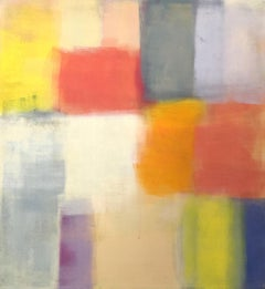Mid-Century II, soft pastel abstract painting on canvas, pink and yellow