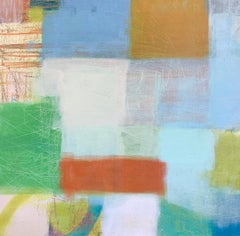 Sunset, geometric abstract painting on canvas, multicolored, blue and green