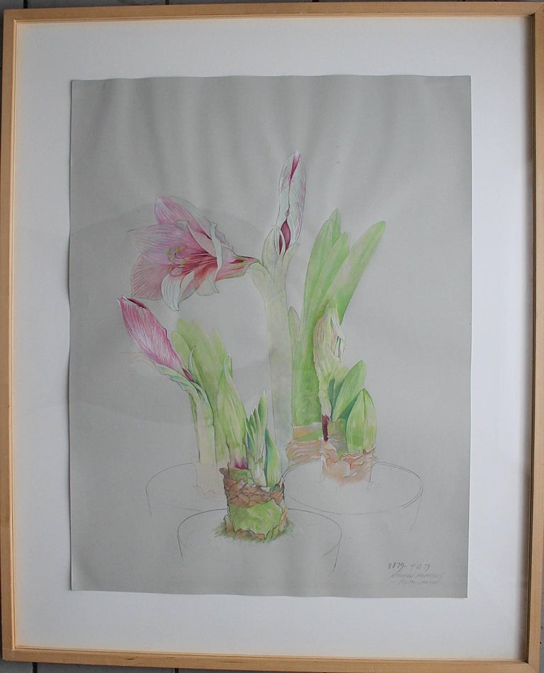 Beautiful original Ellen Lanyon prismacolor watercolor by this important and famous Chicago 'Imagist'. Retains its Richard Gray Gallery label. Framed.