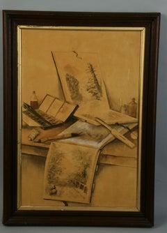 Antique Gouache Painting Artist Studio Interior Painting 1870