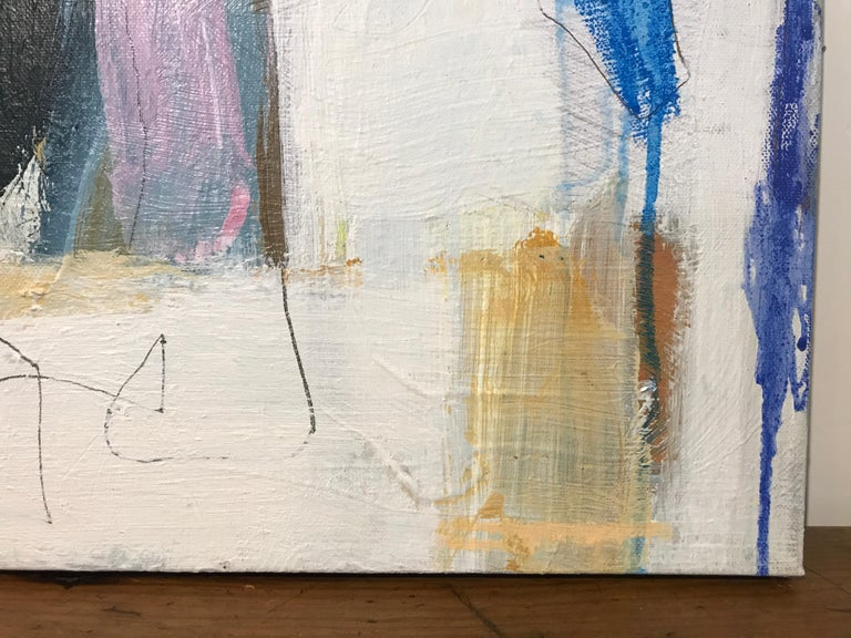 Aloft by Ellen Rolli, Small Abstract Acrylic and Mixed Media on Canvas Painting For Sale 1