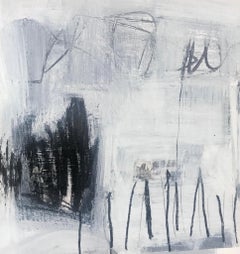 Black and White I, Petite Square Mixed Media on Paper Abstract Painting