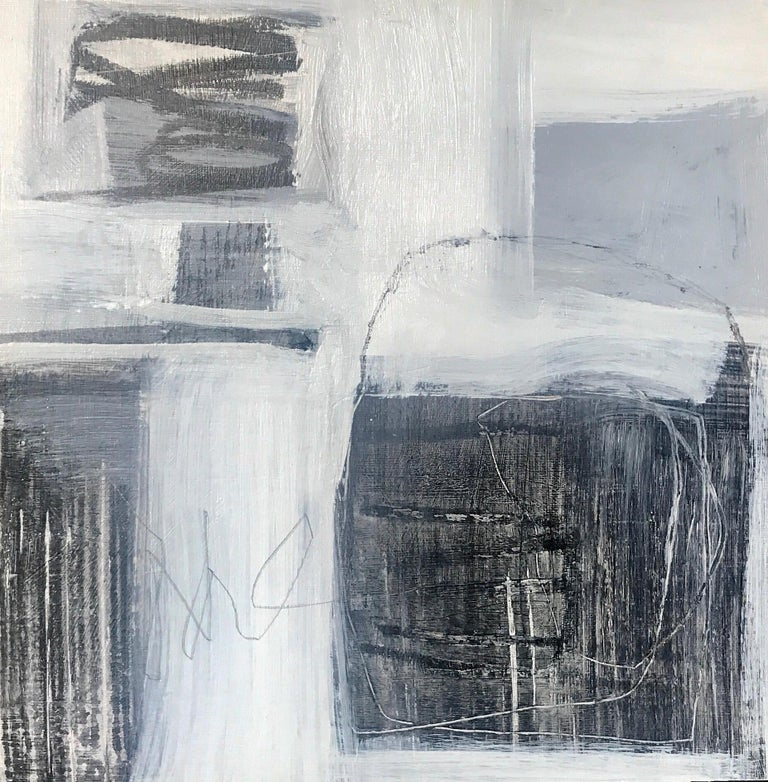 Ellen Rolli Abstract Painting - Black and White II, Petite Square Abstract on Paper Painting