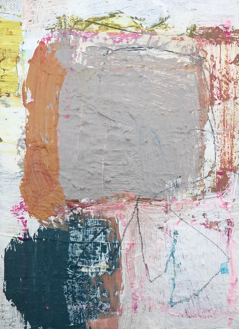 This little abstract painting is part of a 5 piece series, all of which are picture in an included image.  The artist has signed on the back.  Ellen earned her degree in Art Education with a minor in Painting at the Massachusetts College of Art in