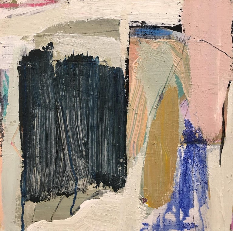 'Landscape Dream' is a small abstract acrylic and mixed media on canvas painting created by American artist Ellen Rolli in 2019. Featuring a palette mostly made of cream, black, soft pink, blue and ocher tones, the painting exudes an impression of