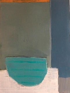 Lone Teal Vessel by Ellen Rolli, Petite Vertical Abstract Still Life on Paper