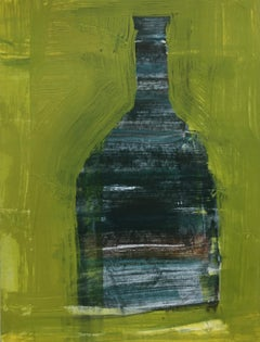 Lone Vessel on Yellow Green by Ellen Rolli, Petite Vertical Abstract Still Life