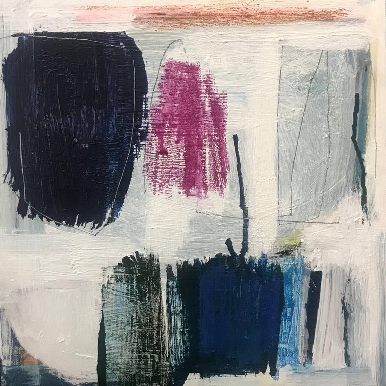 Ellen Rolli Abstract Painting - Off the Grid, Small Abstract Acrylic and Mixed Media on Canvas Painting