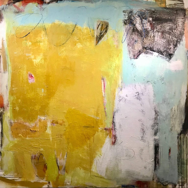 'Synergy' is a large contemporary abstract acrylic and mixed media on canvas painting created by American artist Ellen Rolli in 2018. Painted in a square format, this piece features an exquisite palette mostly made of warm yellow, juxtaposed with a