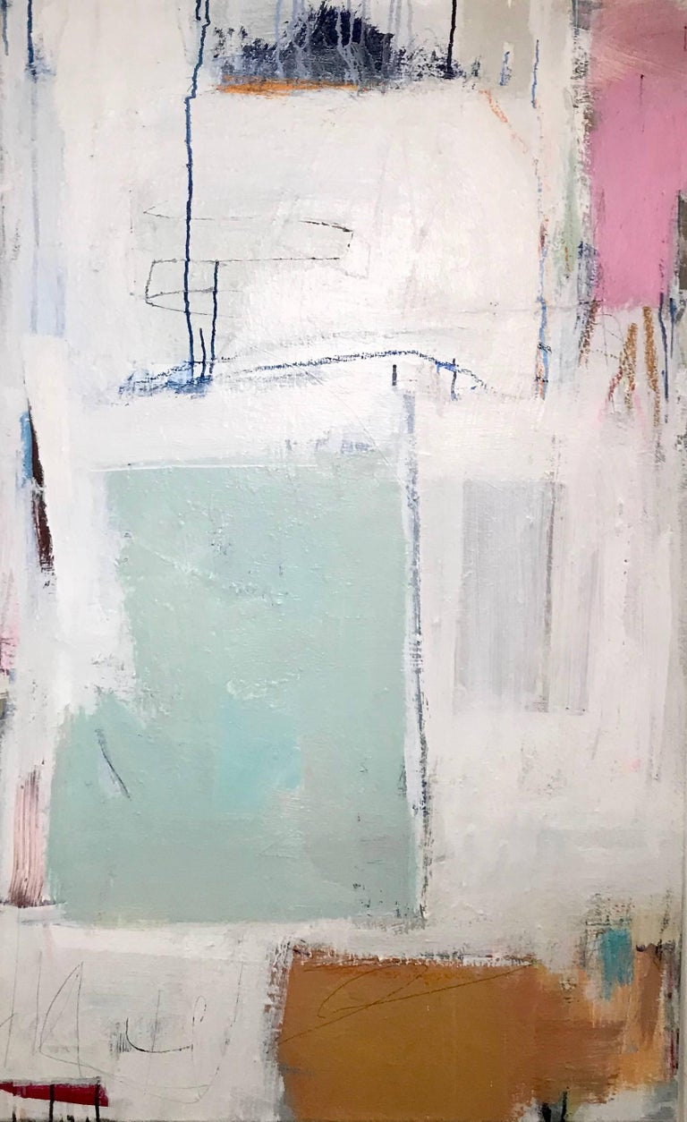 'Threshold' is a large abstract acrylic and mixed media on canvas painting of vertical format, created by American artist Ellen Rolli in 2018. Featuring a composition where colors alternate beautifully with negative space, the painting showcases a