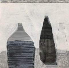 Vessel in Gray by Ellen Rolli Petite Square Abstract Still Life on Paper
