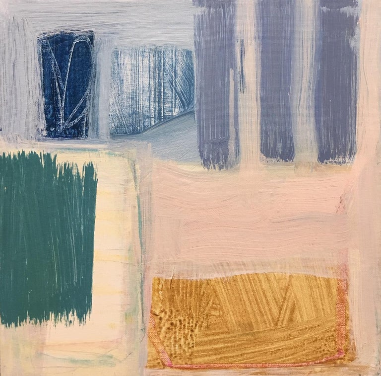 'Walk by the Sea' is a petite abstract acrylic and mixed media on canvas painting created by American artist Ellen Rolli in 2019. Featuring a palette mostly made of blue, light pink, ocher, grey and green, tones, the painting exudes an impression of