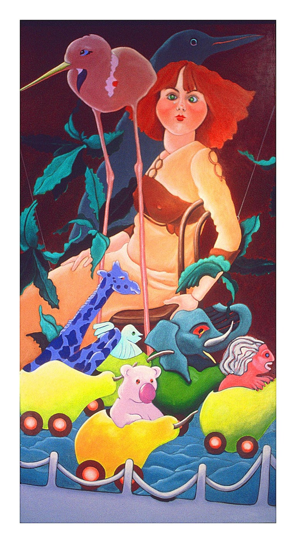 An original modern surreal oil painting by American artist Ellen Steinfeld titled,