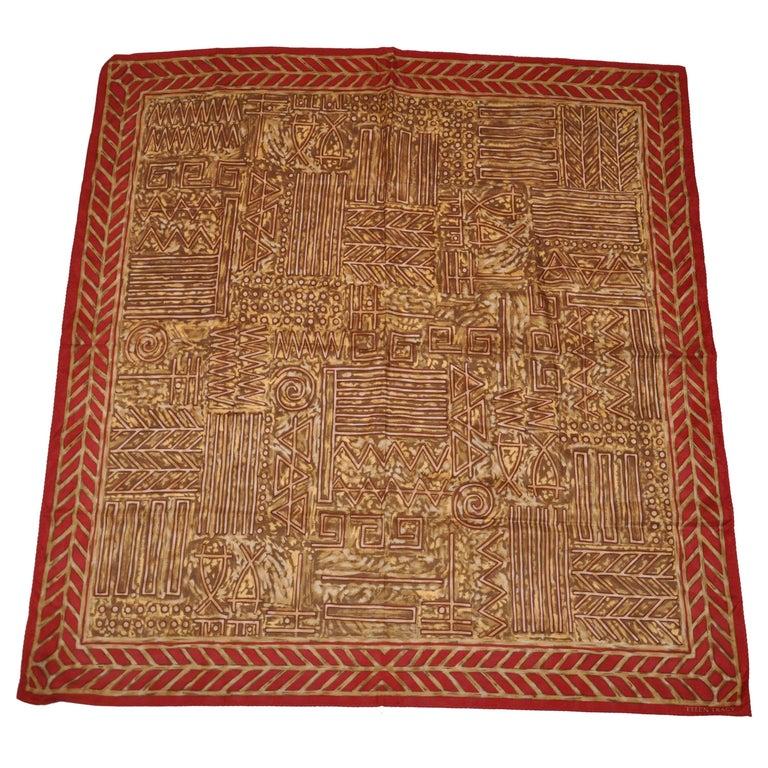 "Ellen Tracy ""Tribal Spread"" with Brick Brown Borders Silk Scarf For Sale"
