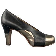 ELLEN VERBEEK Size 8.5 Black & Silver Leather Leather Pumps