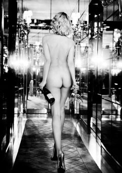 Champagne O'Clock - b&w nude model from behind