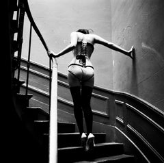 Upstairs, Paris, Celebrity, black and white photography, nude