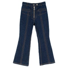 Ellery Blue High Waisted Zip Front Cropped Flared Jeans size 27