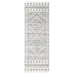 Ellery, Bohemian Shaggy Moroccan Hand Knotted Runner Rug, Light Gray