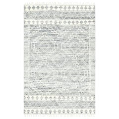Ellery, Bohemian Shaggy Moroccan Inspired Hand Knotted Area Rug, Light Gray
