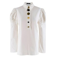 Ellery Breuer Cotton-twill White Shirt with Contrasting Buttons 10 UK