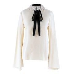 Ellery Cream Double-Crepe Jersey Top UK 10