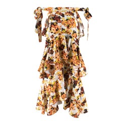 Ellery Orange Floral Print Ruffled Midi Skirt - Size US 2