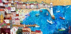 Breezy Day in St Ives -vibrant blue and yellow townscape seashore oil on canvas