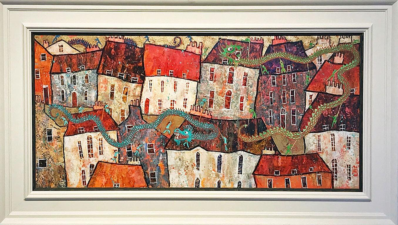 Chinese Dragon Dance - contemporary vibrant townscape dragons mixed media