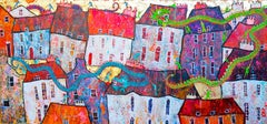 Chinese Dragon Dance -vibrant pink and blue townscape with dragons mixed media