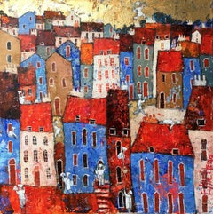 Cordon Bleu - contemporary figurative colorful townscape mixed media painting