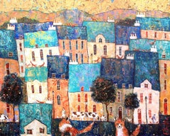 Country Life - contemporary colorful townscape animals mixed media painting