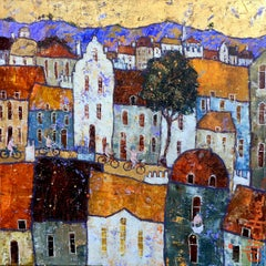 Feeling Free - contemporary colourful playful townscape mixed media oil painting