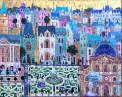 French Baroque - contemporary colourful townscape mixed media oil painting
