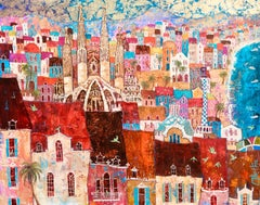 Green Parrots in Barcelona  -vibrant blue and red townscape birds oil on canvas