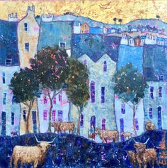 Highlands in the Lowlands - contemporary colourful blue townscape cows painting