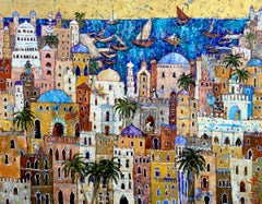 Magic Carpet Ride - An Exotic, Colourful City: Oil on Canvas