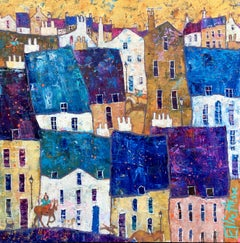 Me, Myself and I -vibrant blue and white townscape horse oil on canvas