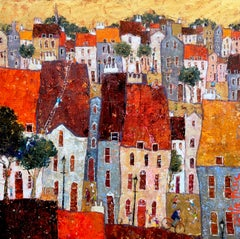 Mischief -vibrant yellow and orange townscape bicycle oil on canvas