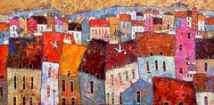 Nest Building -vibrant pink and red townscape birds oil on canvas