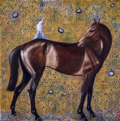 Perso del Tempo - contemporary oil painting, horse bird clocks decorative