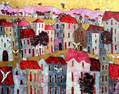 Pop Paradise - contemporary figurative colorful townscape mixed media painting