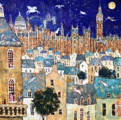 Teach Me To Fly (Peter Pan) - Vibrant City / London by Night: Oil on Canvas