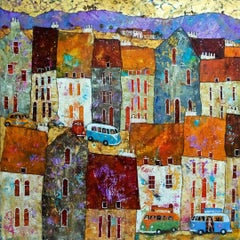 The Road to San Francisco -vibrant blue and orange townscape oil on canvas