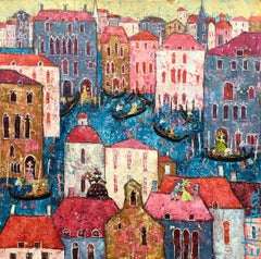 Venice Carnival - Contemporary City Scene: Oil Painting & Gold Leaf on Canvas.