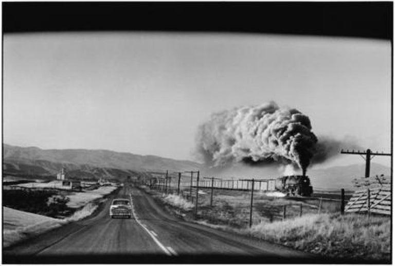 Elliott Erwitt Landscape Photograph - Steam Train Press, Wyoming, 1954 - Mid-century, American Landscape, Photography