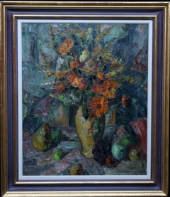 Floral Bouquet - Post Impressionist 20's art British oil painting Cezanne style
