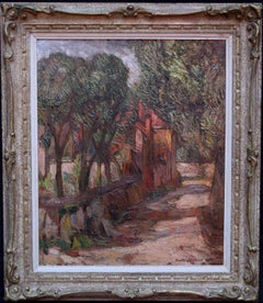 The Forest - British Post Impressionist oil painting wooded roadside villa
