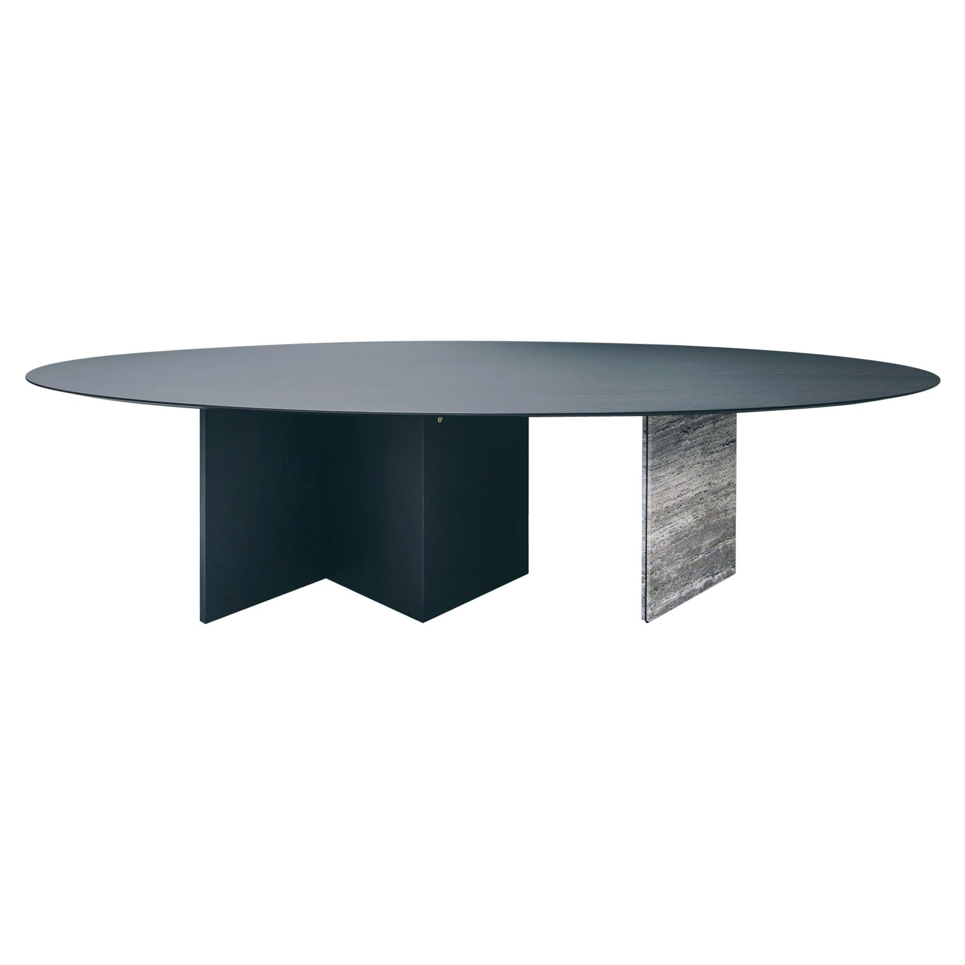 contemporary black ash wood dining table with travertin, ellipse 01.1 by barh